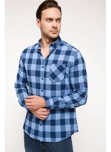 DeFacto Tek Cep Kareli Gömlek Mavi